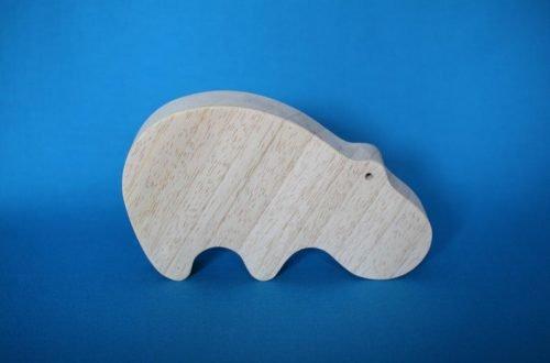 Houten nijlpaard (kijkt omlaag)